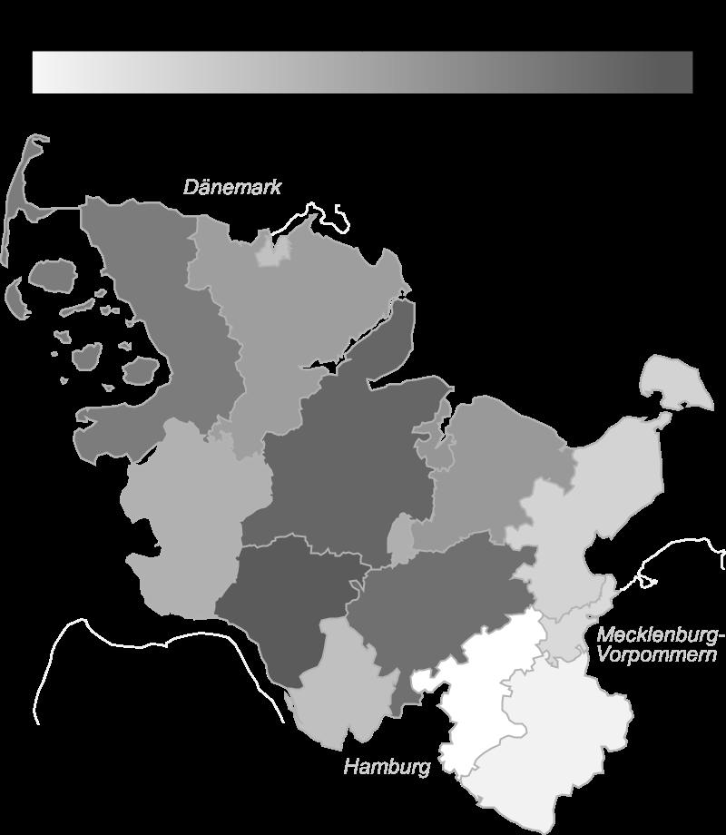 Eine Karte von Schleswig-Holstein mit den Kreisen welche die relative Verteilung auf Basis der Meldungen pro 100.000 Einwohnern zeigt, die zugrundeliegenden Daten finden sich in der folgenden Tabelle