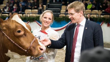 Ministerpräsident steht neben einem prämierten Rind