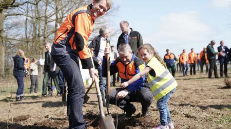 Ein Mann in Arbeitskleidung gräbt ein Loch mit einem Spaten, ein anderer Mann und ein kleines Mädchen setzen einen jungen Baum in das Loch.