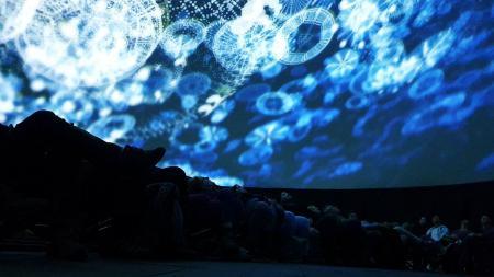 Menschen schauen sich eine Lichtprojektion an der Decke an.
