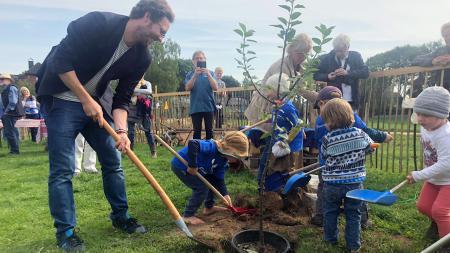 Ein Mann und Kindergartenkinder pflanzen einen Baum auf einer Wiese